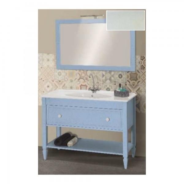 Mobile shabby da 120 cm bianco veneziano con cassetto specchio e applique led cromo