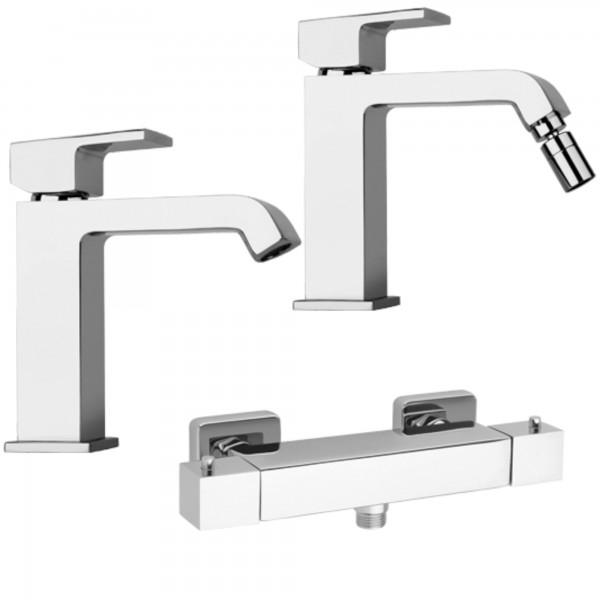Set miscelatori bagno piralla sorgente lavabo bidet e esterno doccia con termostatico in ottone