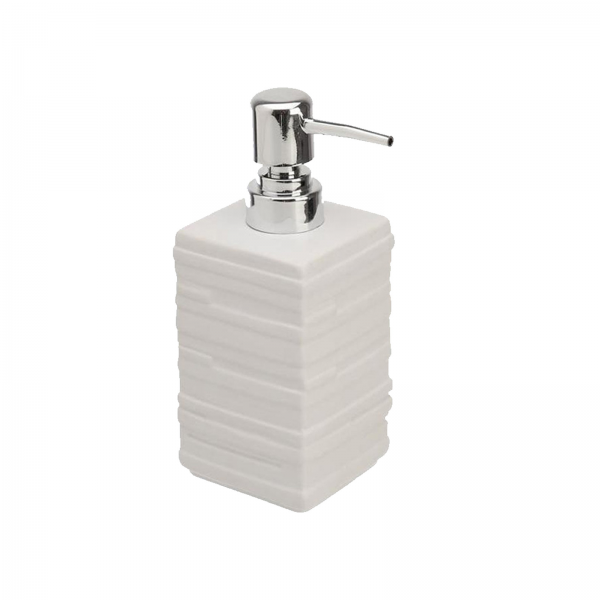Dispenser sapone in ceramica bianca effetto pietra