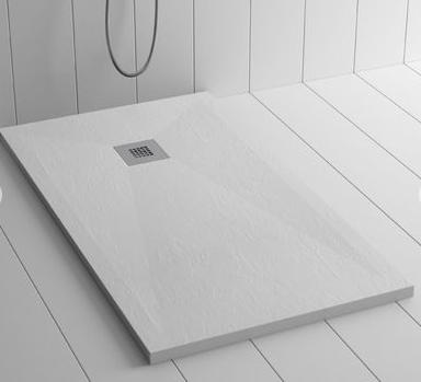 Piatto doccia bianco 70x160 in mineral marmo sp 3cm con piletta inclusa