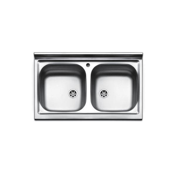 Lavello d'appoggio in acciaio inox 80x50 doppia vasca