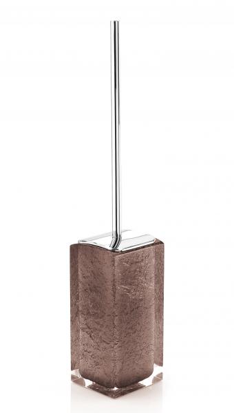 Portascopino wc appoggio con ciuffo in setole in resina marrone