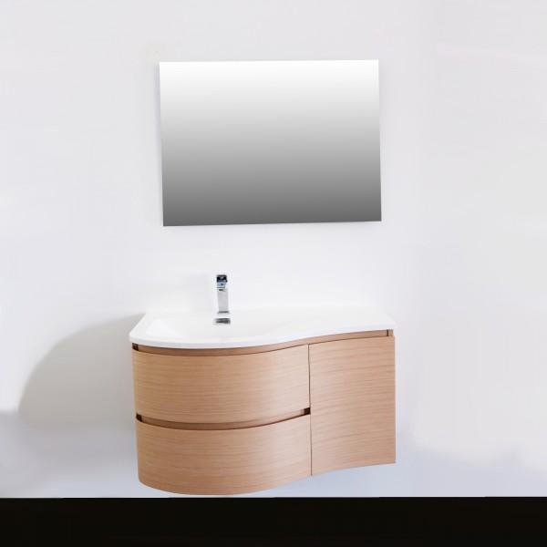 Mobile bagno sospeso 90 cm doppio cassetto e anta rovere chiaro e specchio filolucido