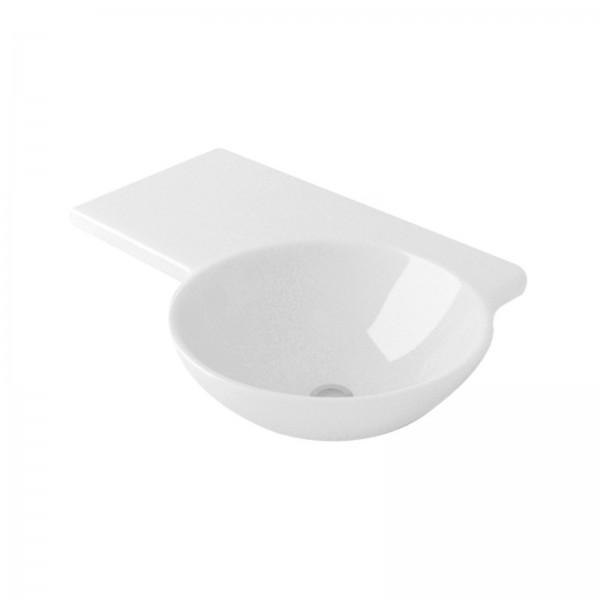 Lavabo sospeso 68 cm opera sanitari simply in ceramica bianco con appoggio a sinistra