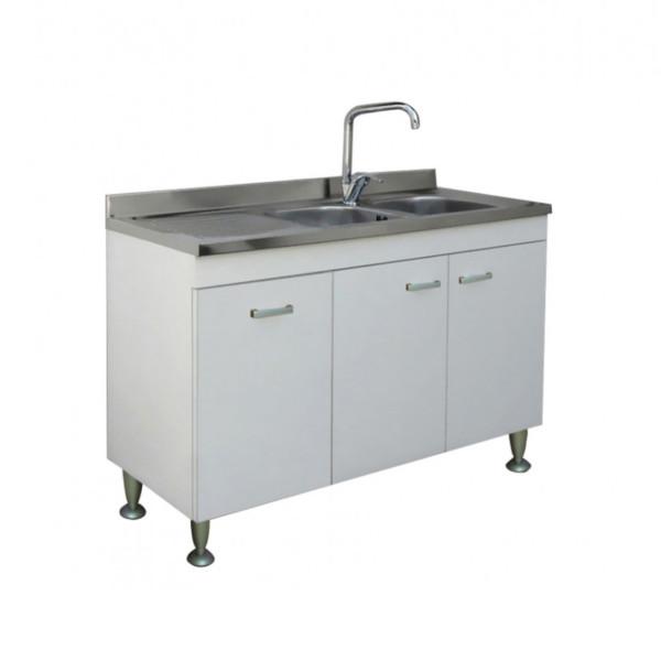 Mobile da cucina 120x50 cm a tre ante bianco con lavello con gocciolatoio a sinistra in acciaio