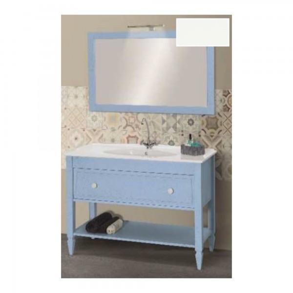 Mobile shabby da 120 cm laccato bianco opaco con cassetto specchio e applique led cromo