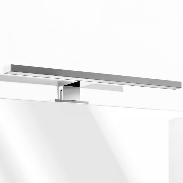 Lampada led da 60 cm a luce naturale in alluminio e abs cromo con attacco a morsetto o a viti