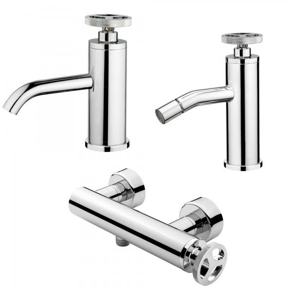 Set miscelatori monocomando bagno lavabo bidet ed esterno doccia mimi cromo con scarico click clack