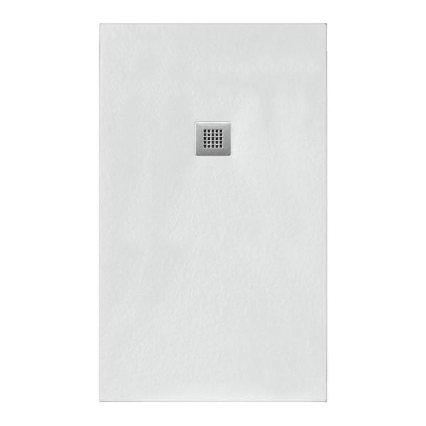 Piatto doccia bianco 70x110 in mineral marmo sp 3cm con piletta inclusa
