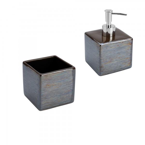 Set accessori bagno cube due pezzi in ceramica grigia con dispenser e portaspazzolini