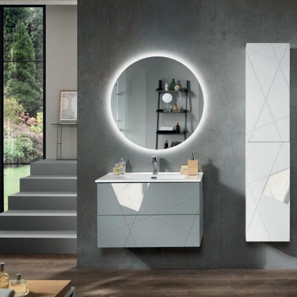 Composizione bagno sospesa crizia 82 cm grigio opaco, inserti effetto marmo con specchio filolucido