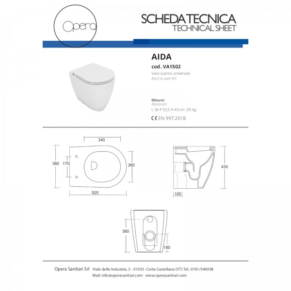 Vaso filomuro bianco opera sanitari aida in ceramica con copriwc avvolgente soft close