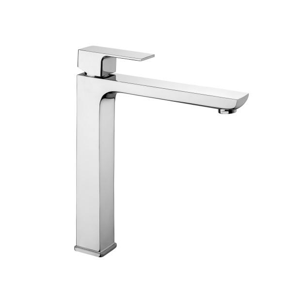Miscelatore monocomando lavabo alto square cromo con scarico tradizionale in ottone cromo