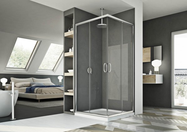 Box doccia 80x120 cm con apertura angolare in cristallo trasparente serie smart
