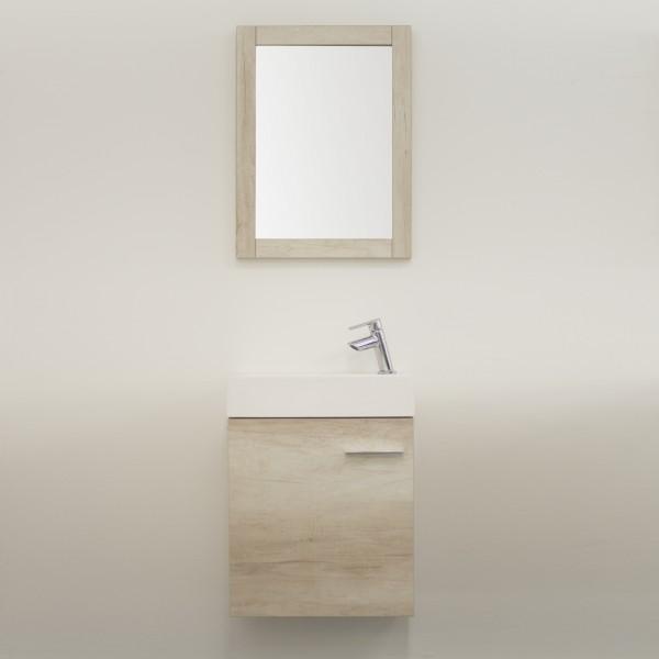 Mobile sospeso bagno 45 cm rovere olmo con anta e specchio con cornice