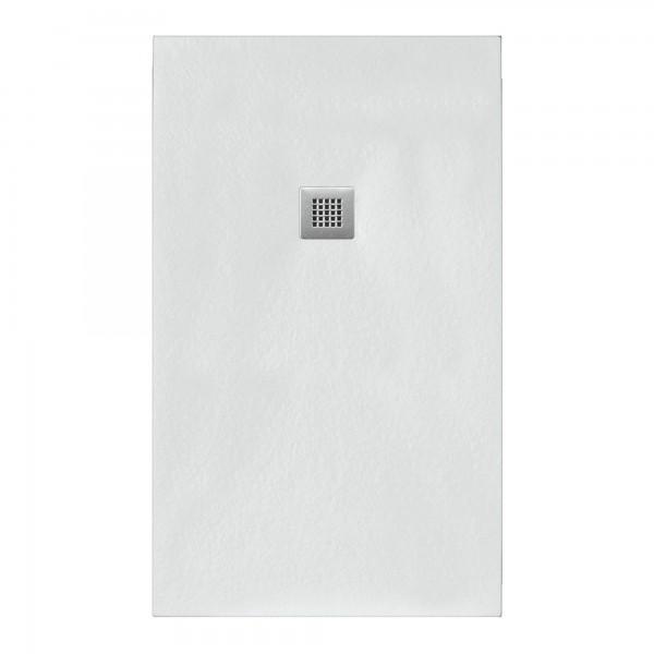 Piatto doccia bianco 80x140 in mineral marmo sp 3 cm con piletta inclusa