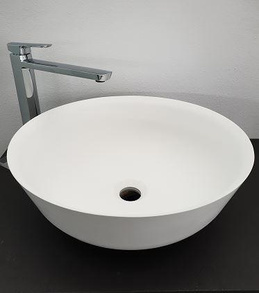 Lavabo da appoggio 41,5 cm in solid surface bianco opaco