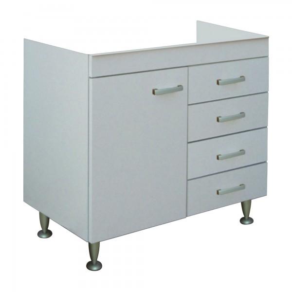 Mobile sottolavello da cucina bianco 90x50 cm con anta e cassetti per lavello in acciaio inox