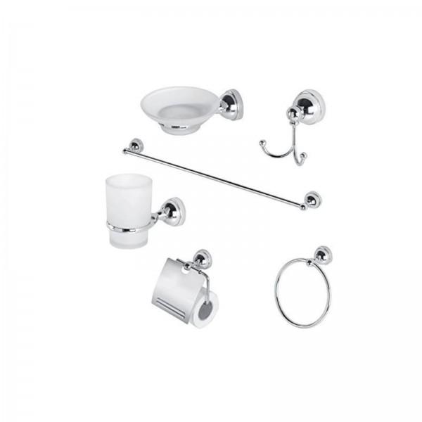 Set accessori bagno da sei pezzi in acciaio inox cromato e vetro