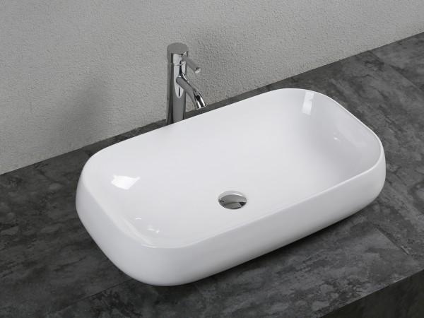 Lavabo happy rettangolare 70x40 cm in ceramica bianca