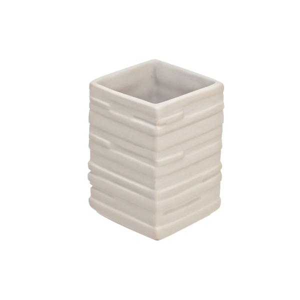 Portaspazzolino in ceramica bianca effetto pietra