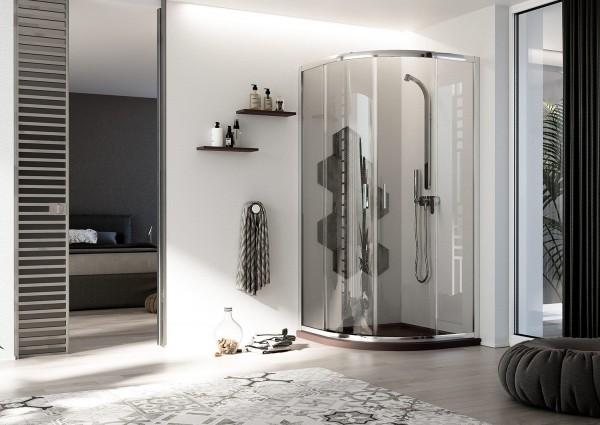 Box doccia 80x80 cm con apertura angolare semicircolare in cristallo trasparente serie smart