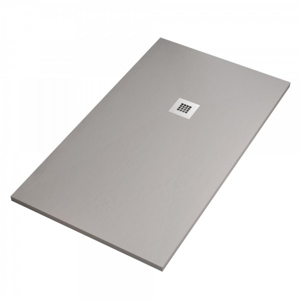 Piatto doccia ultraflat cemento 80x140 h.2,8 in mineral con griglia inox