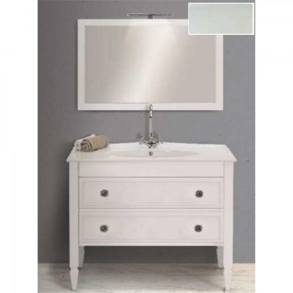 Mobile shabby da 105 cm bianco veneziano doppio cassetto con specchio e applique led cromo