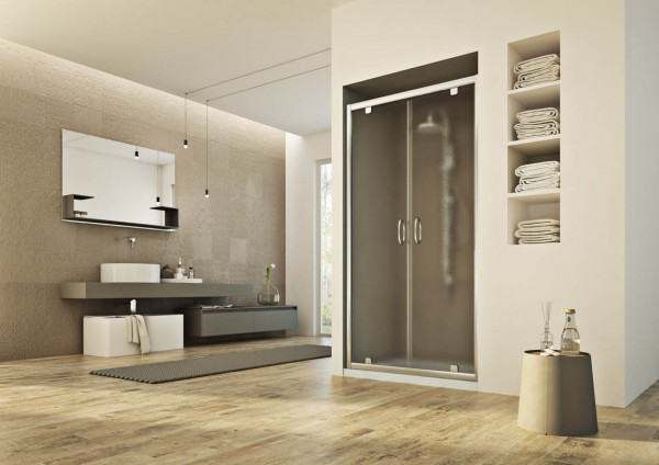 Porta saloon da 120 cm a 2 ante in cristallo stampato serie fusion