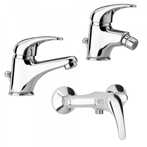Set miscelatori monocomando bagno piralla zoe lavabo bidet e esterno doccia in ottone cromo