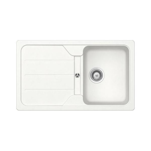 Lavello cucina in cristalite 86x50 cm reversibile schock formhaus d100 bianco