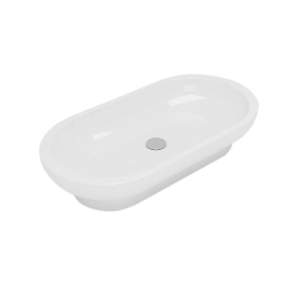 Lavabo bianco da appoggio opera sanitari sally da 70 cm in ceramica
