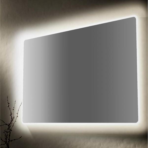 Specchio retroilluminato 90x60 cm reversibile con angoli arrotondati