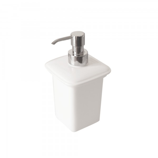 Dispenser portasapone dado in ceramica bianco
