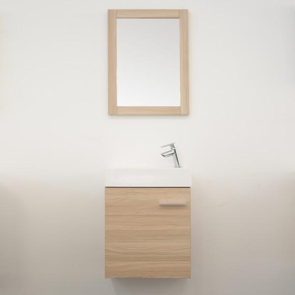 Mobile sospeso bagno 45 cm rovere chiaro con anta e specchio con cornice