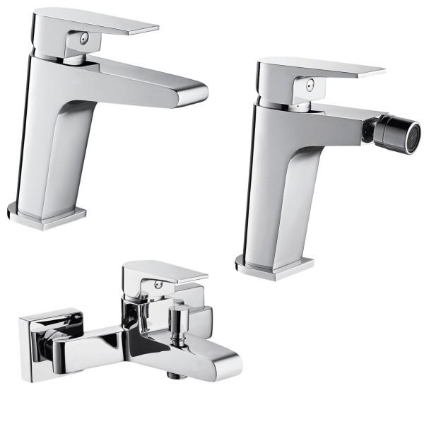 Set miscelatori monocomando bagno quaranta aria lavabo bidet ed esterno vasca con duplex in ottone c