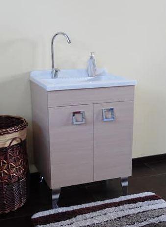 Lavatoio con piedi 45x50 rovere well con vasca in polipropilene