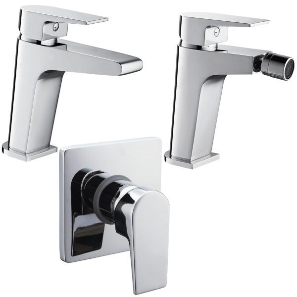 Set miscelatori monocomando bagno quaranta aria lavabo bidet e incasso doccia in ottone cromo