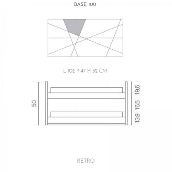 Composizione da bagno crizia 102 sospesa grigio opaco e inserti in vetro in marmo bianco