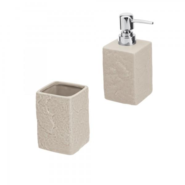 Set accessori bagno artep due pezzi beige effetto pietra con dispenser e portaspazzolini