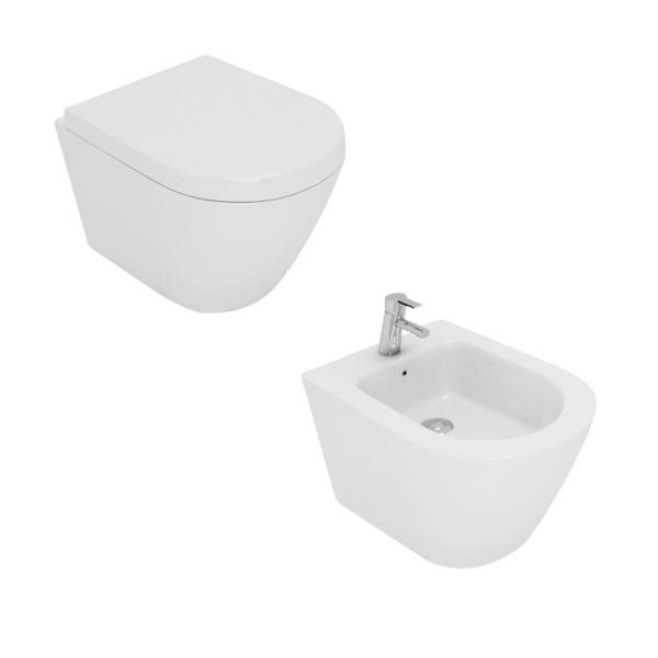 Sanitari sospesi opera laguna senza brida in ceramica bianco con sedile avvolgente