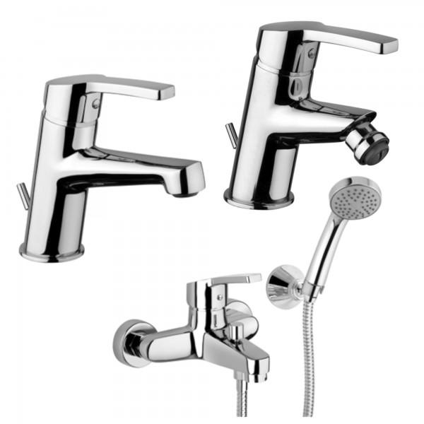 Set miscelatori monocomando bagno piralla laila lavabo bidet ed esterno doccia con duplex in ottone
