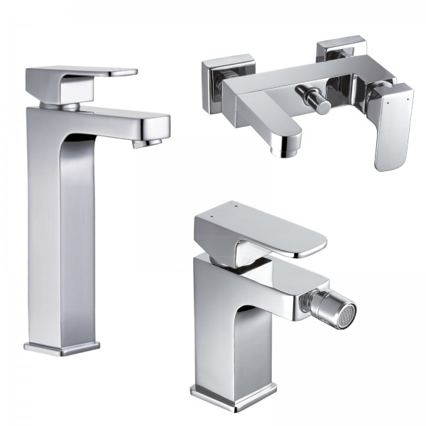 Set miscelatori bagno quaranta maite lavabo alto bidet ed esterno vasca con duplex in ottone cromo