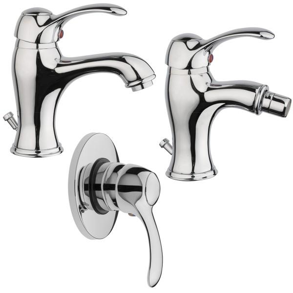 Set miscelatori bagno classico quaranta jolly lavabo bidet e incasso doccia in ottone cromato