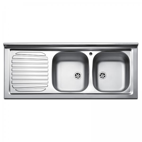 Lavello da appoggio 120x50 cm in acciaio inox con doppia vasca e gocciolatoio a sx