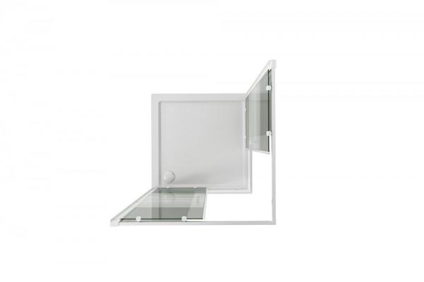 BOX DOCCIA ANGOLARE 70X120 CM CON APERTURA ANGOLARE IN CRISTALLO SERIGRAFATO SERIE WHITE
