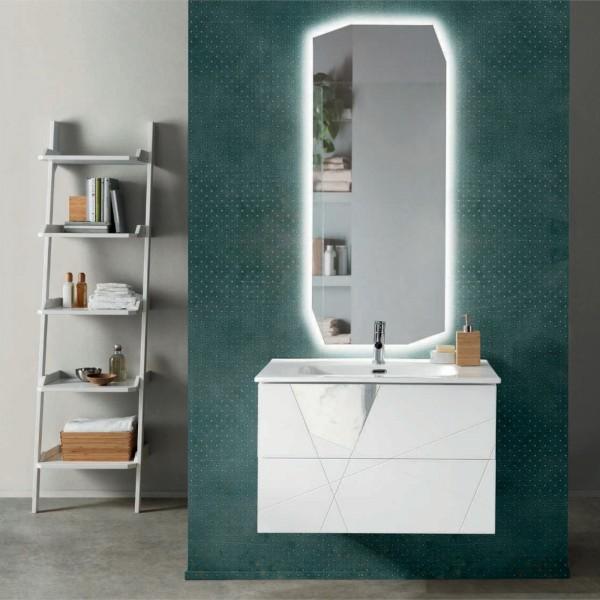 Composizione bagno sospesa crizia 82 cm bianco opaco,inserti effetto marmo con specchio filolucido