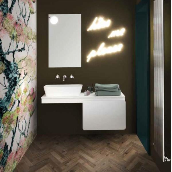Mobile bagno sospeso 100 cm freddi laundry color polar bear apertura ad anta e specchio
