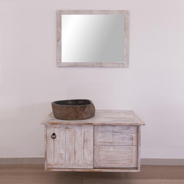 Mobile bagno sospeso 100 cm con travi bianco shabby lavabo in pietra di fiume e specchio