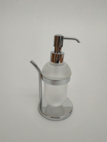 Dispenser sapone capannoli in ottone cromo e cristallo satinato